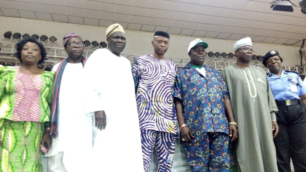 From right; Ondo State Commissioner of Police, Hilda Harrison, Deputy Governor, Alhaji Lasisi Oluboyo, new Chairman of the National Union of Road Transport Workers (NURTW), Ondo State Chapter, Ariyo Adetula, Governor Olusegun Mimiko, NURTW National President, Alhaji Najeem Yasin, Member of the House of Representatives, Hon Joseph Akinlaja, and Ondo State Chairman of the Nigerian Labour Congress (NLC), Comrade Bosede Daramola, at the inauguration of new executives of Ondo State NURTW, in Akure, on Wednesday.
