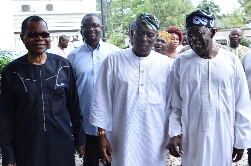 National Leader, All Progressives Congress (APC), Asiwaju Bola Tinubu; former Governor of Ogun State, Aremo Olusegun Osoba and National Vice Chairman, South-West, APC, Chief Pius Akinyelure during the meeting of the South West APC Leaders at Aremo's residence in Bourdillon, Ikoyi