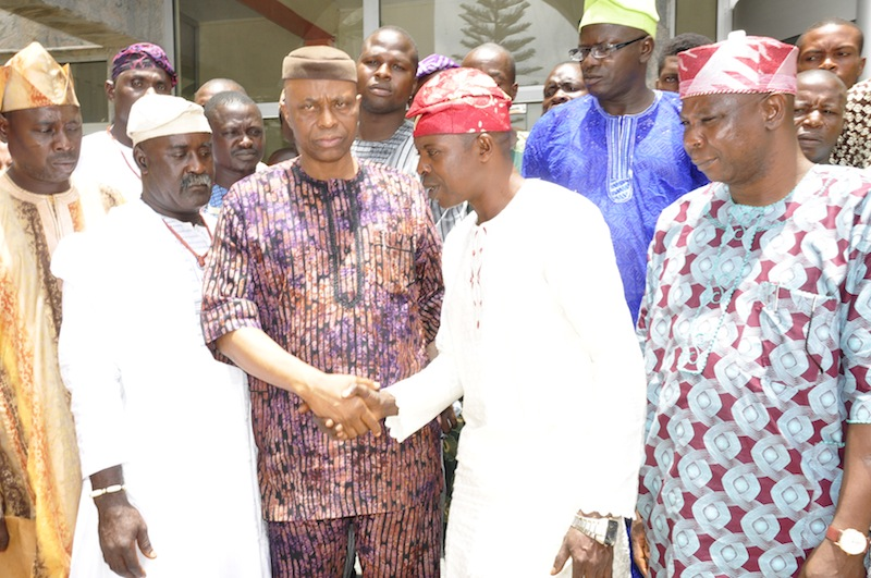 From left: State Secretary of Oodua Peoples Congress, OPC, Comrade Ogunlade Jenyo, OPC Member, Stephen Lawal, Ondo State Governor, Dr Olusegun Mimiko, Ondo State Coordinator, of OPC, Pius Ogunsanya, Deputy Governor, Alhaji Lasisi Oluboyo, and others, after the meeting.