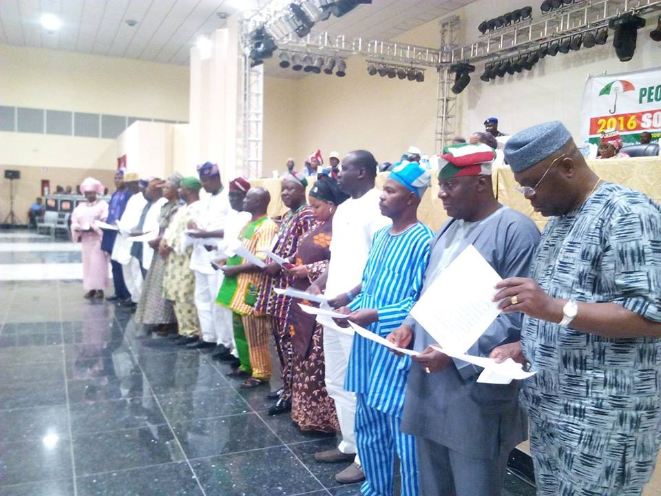 Newly elected and sworn-in Southwest Zonal Officers of the PDP