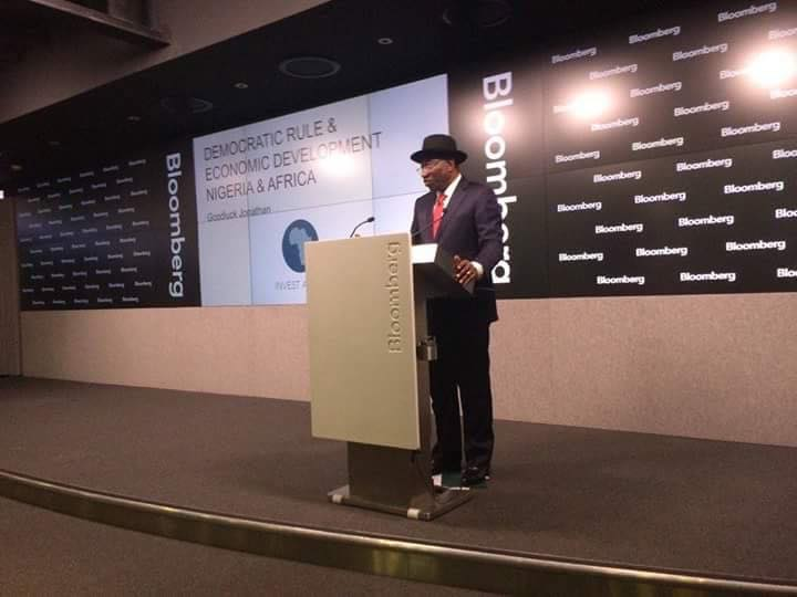 Former President Goodluck Ebele Jonathan delivered a speech promoting democracy, titled 'Civis Nigerianus Sum – I am a Citizen of Nigeria' at the Bloomberg Studio in London, United Kingdom today Monday 6 of June.