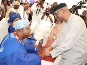 Ondo State Governor, Dr Olusegun Mimiko, with the new Jegun of Ile-Oluji, Oba (Dr) Julius Oluwole Adetimehin.