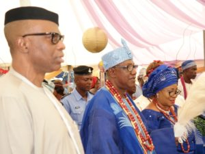 From left; Ondo State Governor, Dr Olusegun Mimiko, with the new Jegun of Ile-Oluji, Oba (Dr) Julius Oluwole Adetimehin and his wife, Olori (Dr) Adetokunbo Adetimehin.