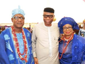 Ondo State Governor, Dr Olusegun Mimiko (middle), with the new Jegun of Ile-Oluji, Oba (Dr) Julius Oluwole Adetimehin and his wife, Olori (Dr) Adetokunbo Adetimehin