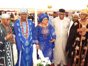 From right; Osemawe of Ondo, Oba Victor Kiladejo, Ondo State Governor, Dr Olusegun Mimiko, Wife of the new Jegun of Ile-Oluji, Olori (Dr) Adetokunbo Adetimehin, Jegun of Ile-Oluji, Oba (Dr) Julius Oluwole Adetimehin, and the Deji of Akure, Oba Aladetoyinbo Aladelusi.