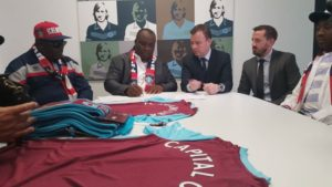 From Left to Right: Senator Obinna Ogba, Chairman, Senate committee on sports, Dr. Patrick Ifeanyi Ubah, MD/CEO Capital Oil and Gas Industries and President, FC Ifeanyi Ubah, Mr. Angus Kinnear, MD WestHam United FC, Mr. Scott McCubbin, Commercial Manager, WestHam United FC and Alhaji Ibrahim Gusau, Chairmen of Chairmen and Executive committee member, Nigerian Football Federation.