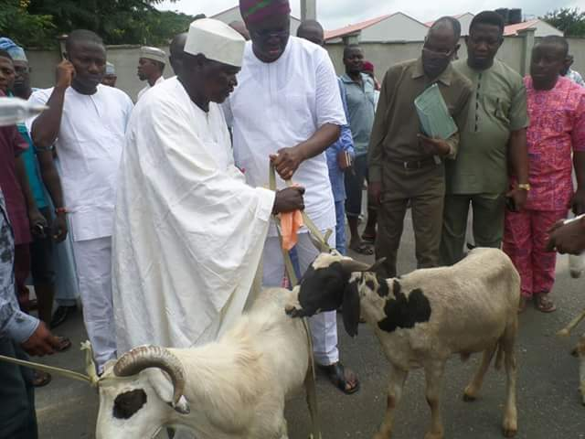 Fayose distributes Rams, Urges Muslims to Pray for the Peace and Unity of Nigeria