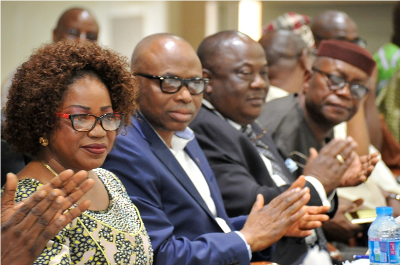 From left; Chairman, Ondo State Micro-Credit Agency, Banke Sutton, Ondo State Governor, Dr Olusegun Mimiko, Commissioner for Finance, Yele Ogundipe and Chief of Staff to the Governor, Dr Kola Ademujimi, at the disbursement of loan and presentation of cheques to beneficiaries of the CBN/Ondo Micro, Small and Medium Enterprises Development Fund (MSMEDF)