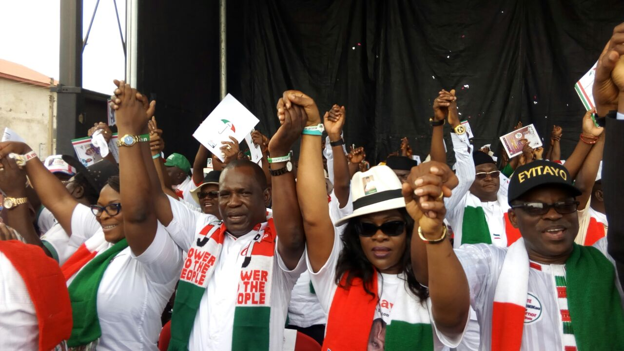 PHOTOS: PDP Ondo Governorship Campaign flag off rally, at the Democracy Park, in Akure, on Wednesday