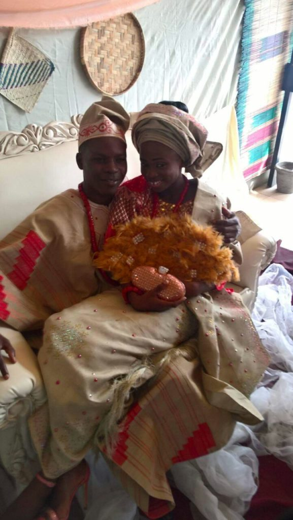 The couple : Abisoye Olatunde and Abimbola Oluwatosin at their engagement ceremony.