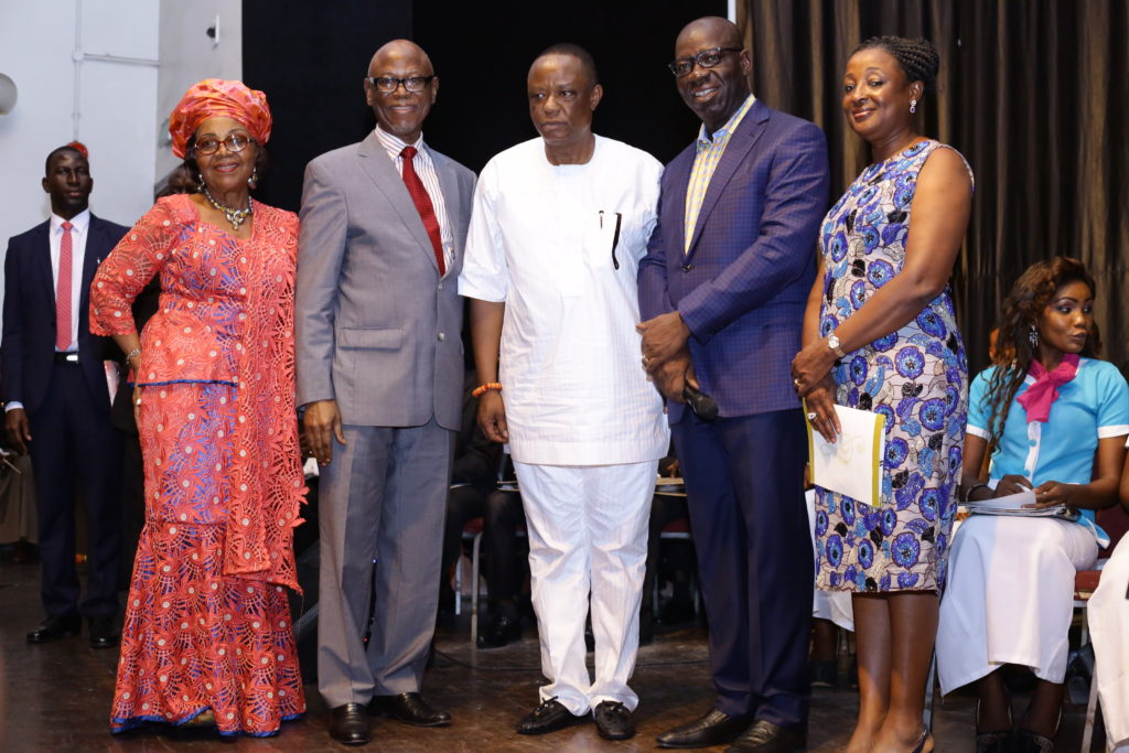 L-R Wife of National Chairman of the All Progressives Congress (APC), Mrs. Victoria Odigie-Oyegun; APC National Chairman, Chief John Odigie-Oyegun; Captain Hosa Okunbo; Edo state governor, Mr. Godwin Obaseki and his wife, Betsy in a group photograph after APC National Chairman received a lifetime achievement award presented to him by the Warri Choral Society during a concert the Society held in his honour at the Muson Center in Lagos