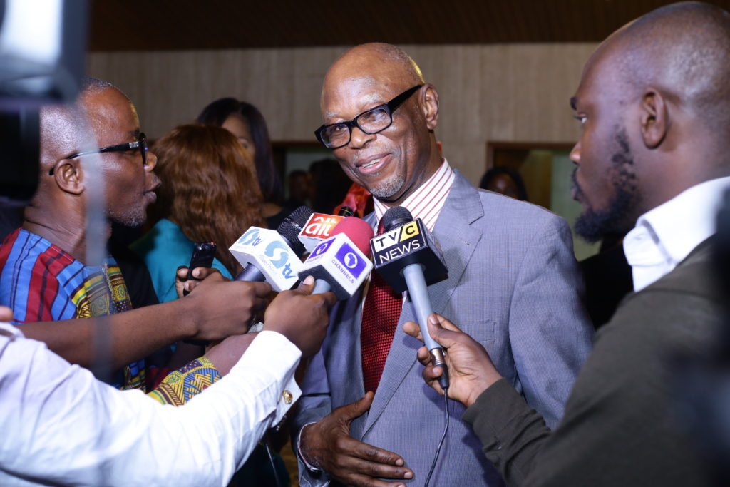 National Chairman of the All Progressives Congress (APC), Chief John Odigie-Oyegun in a chat with journalists after a classical music concert the Warri Choral Society held in his honour at the Muson Center in Lagos