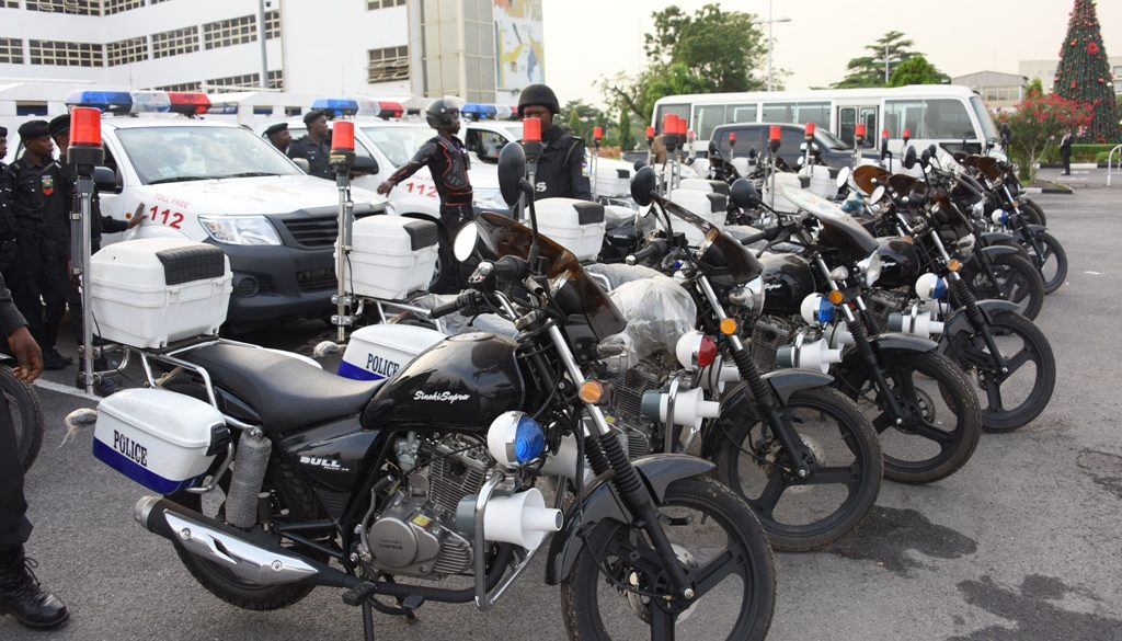 Cross view of the 3 Patrol Vehicles and 45 Power Bikes handed to the Rapid Response Squad (RRS) by Governor Akinwunmi Ambode at the Lagos House