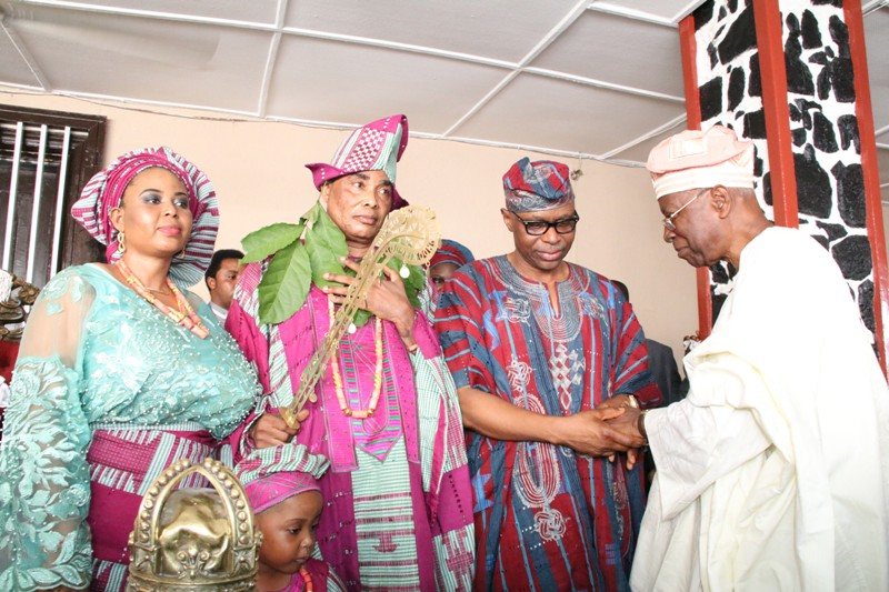 from right: Prof Oladipo Akinkugbe, Ondo State Governor, Dr Olusegun Mimiko, Vice Chancellor of the Ondo State University of Medical Sciences, Prof. Friday Okonofua, and his wife, Patience Okonofua, after the VC's installation as Gbekoleke of Ondo Kingdom.