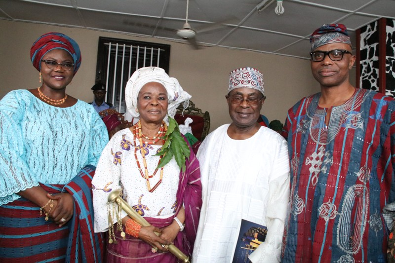 From right: Ondo State Governor, Dr Olusegun Mimiko, Chief Ojora and Erelu O'dua Ojuolape Ojora, and Wife of the Governor, Olukemi Mimiko, after the installation of Erelu Ojora as Chief Iyalaje of Ondo Kingdom.