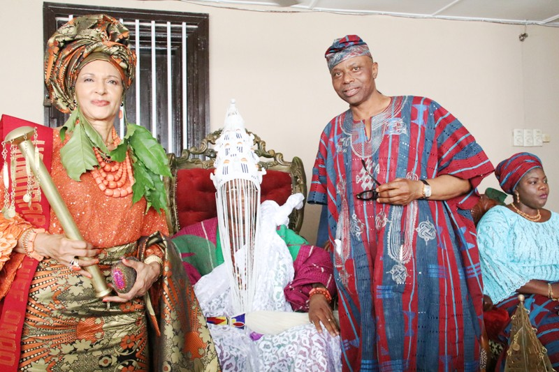 From right: Wife of Ondo State Governor, Olukemi Mimiko, Governor Olusegun Mimiko, Osemawe of Ondo Kingdom, Oba Dr Victor Kiladejo, and the Publisher of Guardian Newspaper, Lady Maiden Ibru, after her installation as Chief Yeye Atunluse of Ondo Kingdom.