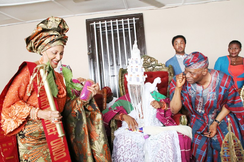From right: Ondo State Governor, Dr Olusegun Mimiko, Osemawe of Ondo Kingdom, Oba Dr Victor Kiladejo, and the Publisher of Guardian Newspaper, Lady Maiden Ibru, after her installation as Chief Yeye Atunluse of Ondo Kingdom.