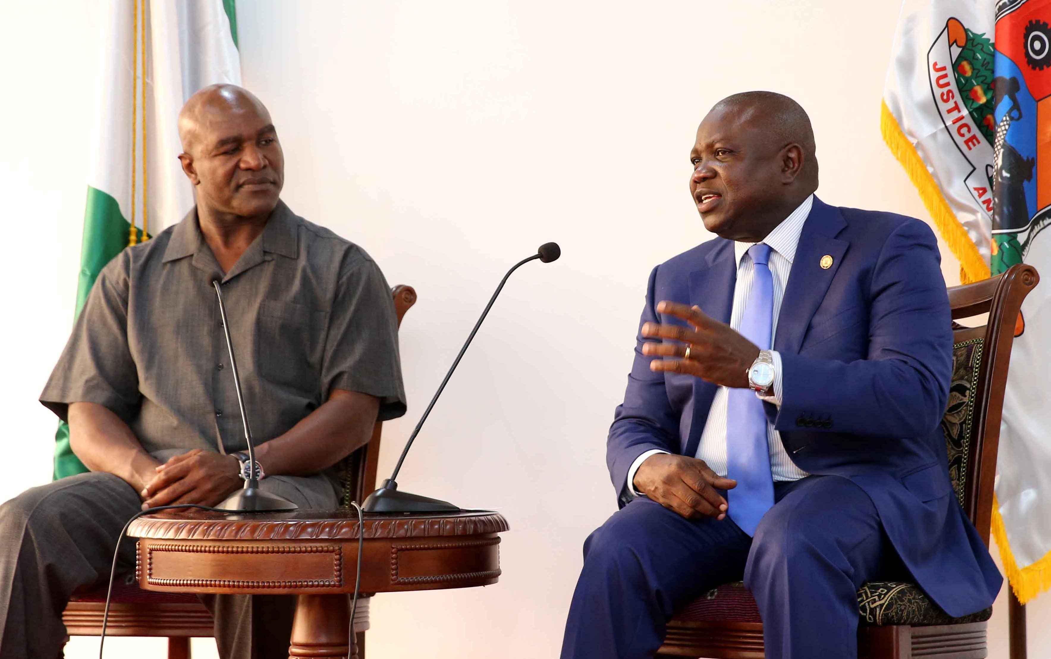 EVANDER HOLYFIELD, GREATEST LIVING BOXER OF ALL TIMES – AMBODE  …As Boxing Legend Visits Gov, Donates $3M Health Equipment To LASG
