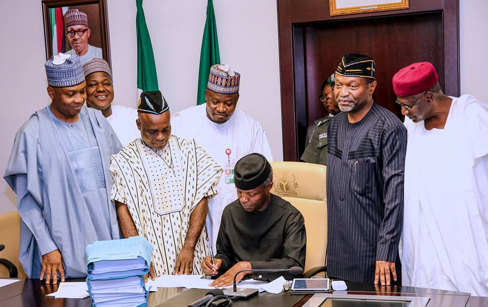 Bleakness of recession about to witness dawn of abundance, says Osinbajo at 2017 budget signing
