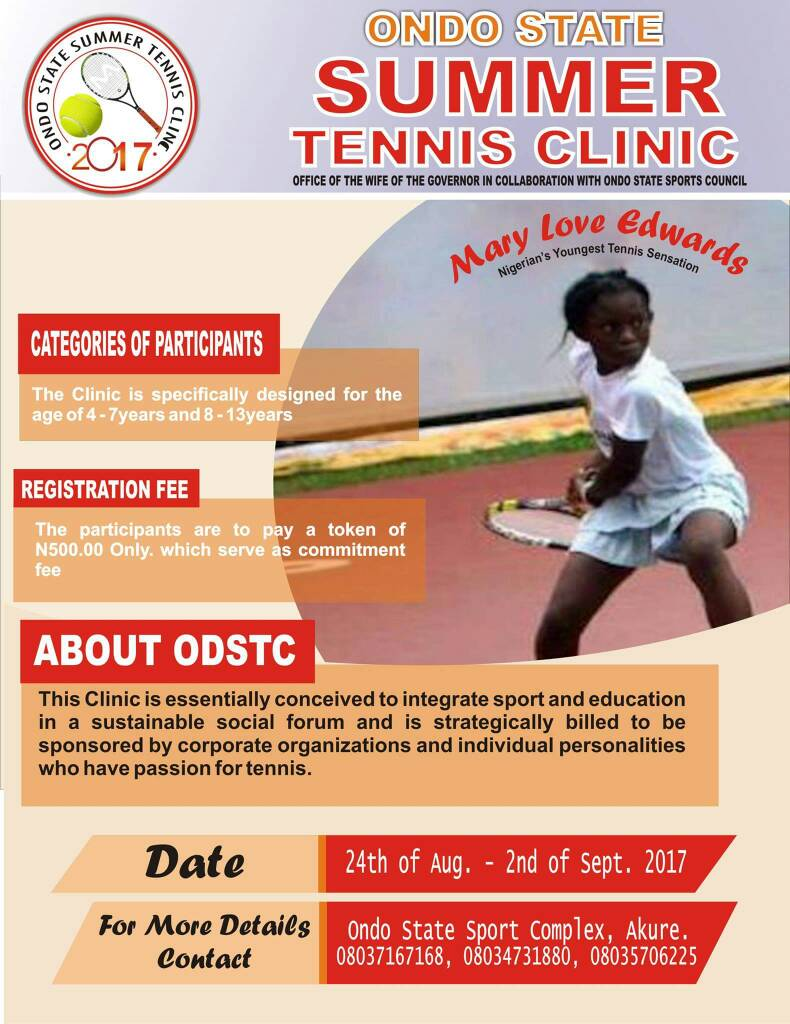 Ondo State First Lady Unveils Summer Tennis Clinic for Children