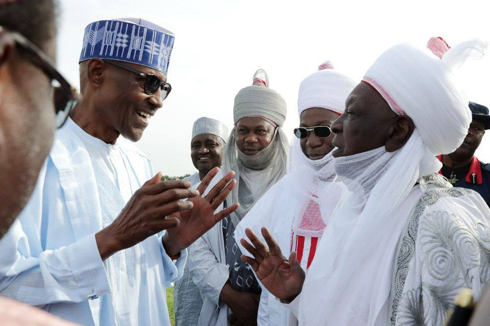 President Buhari opts to walk as overwhelming crowd takes over residence in Daura