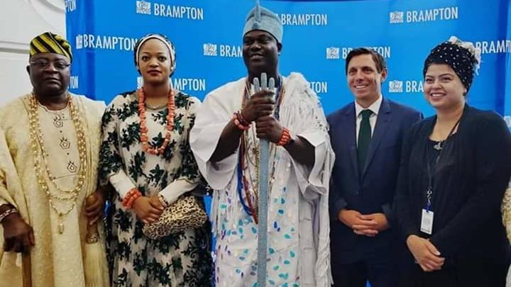 Ooni honoured by the city of Brampton, urges Nigerians in Canada to remember home