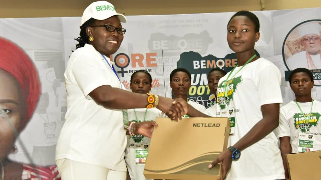 BEMORE: Mrs. Akeredolu Distributes Laptops, Charges Participants To Be Agents Of Change