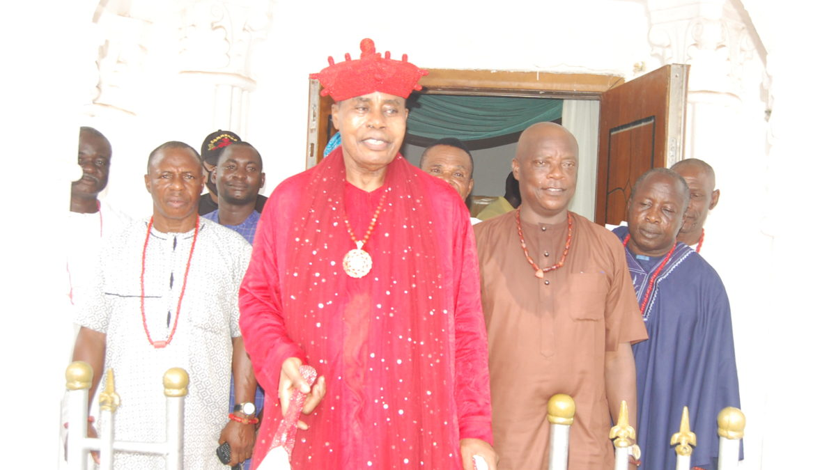 Olugbo signifies peace at Ode Ugbo in his red attire