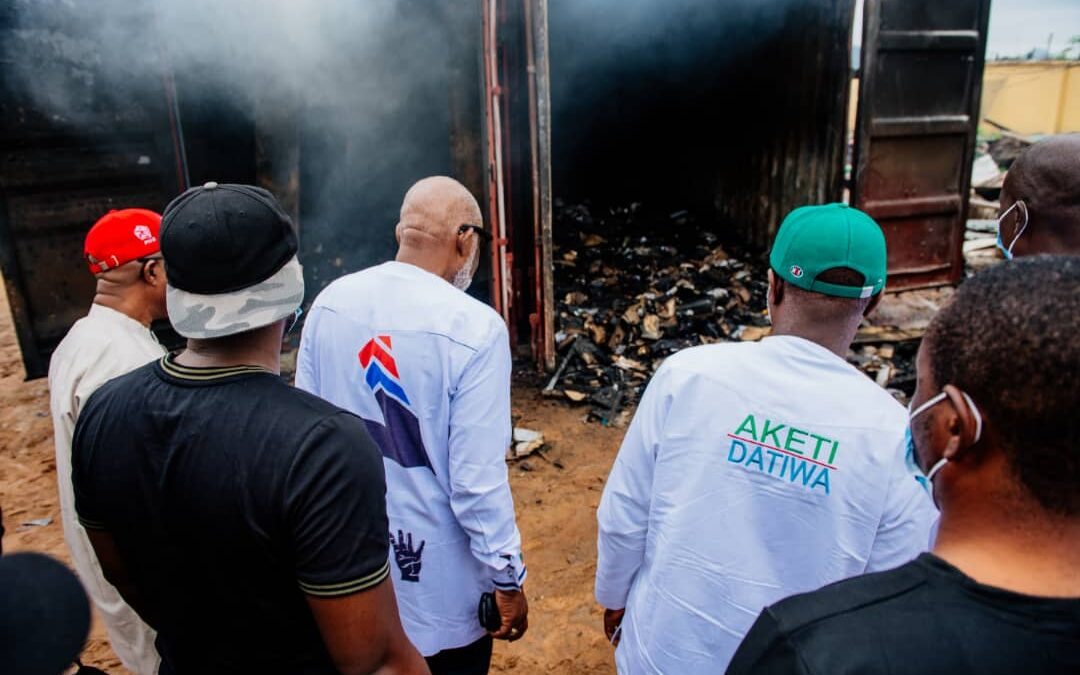 Fire Outbreak: Gov. Akeredolu visits INEC, sympathizes with the electoral body