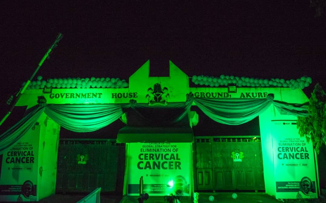 EndCervicalCancer: Ondo govt house gate turns TEAL to raise awareness